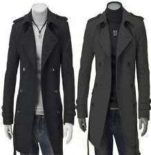 Fashion Mens UK Long Style High Quanlity Woolen Trench Coat Casual Windcoat