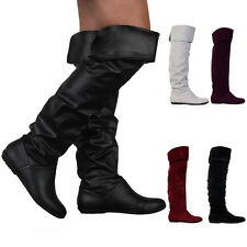 VH6 NEW WOMENS LONG SLOUCH LADIES FLAT OVER THE KNEE WINTER BOOTS SHOES SIZE 3-8