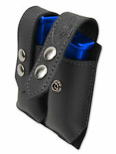 NEW Barsony Black Leather Dbl Mag Pouch for Llama, NA Arms Mini/Pocket 22 25 380