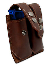 NEW Barsony Brown Leather Dbl Mag Pouch for Llama, NA Arms Mini/Pocket 22 25 380