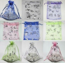 25/100Pcs 12x9cm Butterfly Organza Jewelry Packing Pouch Wedding Favor Gift Bags