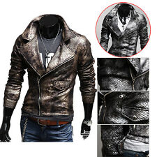 Fashion Snake PU Leather Jacket Moto Slim fit Coat Men's Clothes Sexy Outwear
