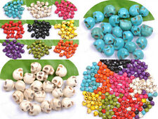 TURQUOISE CARVED SKULL Spacer Loose BEADS Charms JEWELRY MAKING FINDINGS