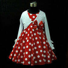 R3121 Red Polkadot Flower Girls Dress + White Cardigan SET SIZE 2-3-4-5-6-7-8-9T