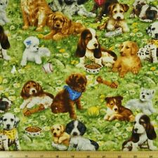 Puppies In The Field 100% Cotton Fabric