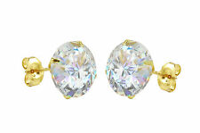Solid 14k Yellow Gold Stud Earrings Clear CZ Cubic Zirconia Round Prong 2mm-10mm