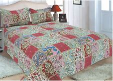 54-All For You 3PC reversible quilt set, bedspread, coverlet set-patchwork print