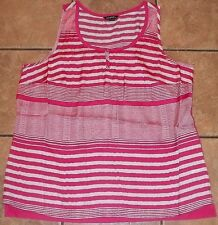 Womens Plus GEORGE~PINK Henley TANK TOP Size 2X 3X 4X~NEW~Striped Blouse Shirt