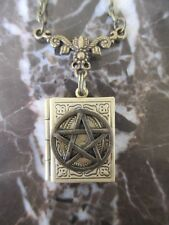 Wicca Book of Shadows Pentacle Handmade Photo Locket Chain Necklace