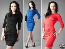 Classic Ruched Shift Dress 3/4 Sleeve Straight Neck Size 8-12 24h Dispatch 756
