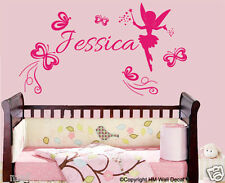 Personalised Name & Fairy, Butterflies Nursery or Kids Removable wall sticker