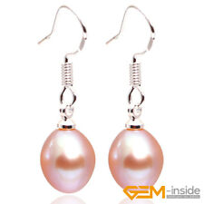 7-8 x 9-10mm Freshwater Pearl Beads Silver Plated Dangle Earrings XMAS Jewelry