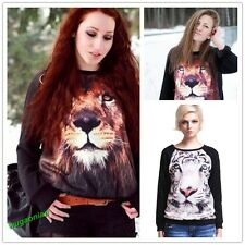 Womens 3D Lion Tiger Print Long Sleeve Black Jumper Pullover Gir Sweatshirt Tops