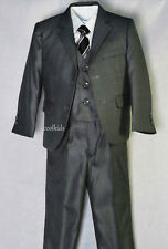 Boys dark grey 5pc suit all occasions,pageboys weddings,communion,age1-12years