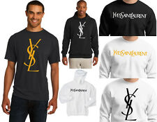 New Men's YSL Yves Saint Laurent T-Shirt Hoodie Shiny Gold Black White S - 5XL
