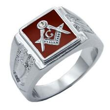 New Rhodium Overlay Red Masonic Mason CZ Ring - Sizes 8-15