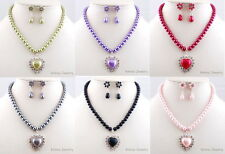 JEWELLERY SET GIFT SILVER GP HEART FAUX PEARL CRYSTAL NECKLACE WITH EARRINGS