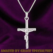 SOLID Sterling Silver Crucifix Cross Pendant alone or with Sterling Chain