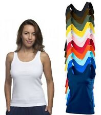 Womens Ladies Cotton BLACK BLUE GREEN ORANGE RED WHITE Tank Top Vest Singlet