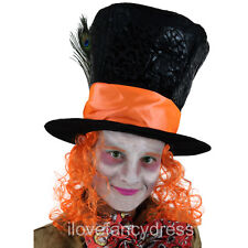MAD HATTER TOP HAT WITH ORANGE WIG HAIR FANCY DRESS TEA PARTY COSTUME ACCESSORY