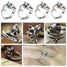 1 Pc Women Lovely Silver Plated Adjustable Kitten Cat Animal Crystal Alloy Ring