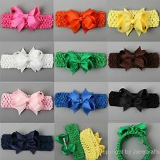 "10x 3.5"" Girl Baby Grosgrain Ribbon Hair Bow Clip Crochet Headband Mix 10 Colors"