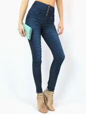 NWT DARK DENIM HIGH WAIST STRETCH FITTED SEXY SKINNY SLIM LEG BUTTON  JEANS 1-15