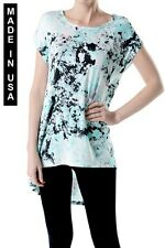 WOMEN HIGH & LOW STYLE MULTI PRINT SLEEVELESS TOPS - MADE IN USA (MORE COLORS)