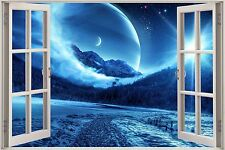 Huge 3D Window Enchanted Mountain River View Wall Stickers Film Decal Wallpaper