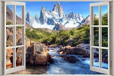 Huge 3D Window Enchanted River Mountain View Wall Stickers Film Decal Wallpaper