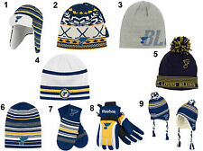 ST LOUIS BLUES CUFFED POM FUR MOHAWK TROOPER KNIT HAT & GLOVES MITTENS SCARF