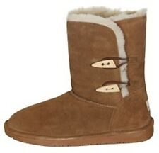 Women's BEARPAW ABIGAIL Brown Suede Leather Shearling Casual Winter Boots NEW