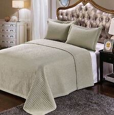 Luxury Sage Green Checkered Quilted Wrinkle Free Microfiber Coverlet Set