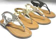 Girl Thong Strappy Sandals (Gail05) Youth Blacks Silver Gold White