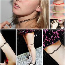 SALE 4 COLOUR VINTAGE STRETCH TATTOO CHOKER NECKLACE HIPPY CHICK ELASTIC 80S 90S
