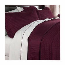Hotel MODERN Reversible SOLID Burgundy Red Quilt Coverlet Set Twin Queen King