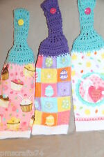 Easter Bunny Cupcakes Easter Eggs flowers light weight CROCHET KITCHEN TOWEL