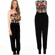 Ladies Sleeveless Boobtube Rose Floral Contrast Women's Summer Party Jumpsuit