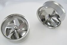 1 PAIR SURGICAL STEEL SPINNING PINWHEELTUNNEL PLUGS FAN DOUBLE FLARE GAUGES NEW