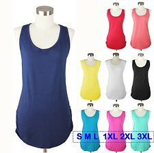 Womens Plus Size Racer Back Tank Top Long Shirt Side Shirring Stretch 1x 2x 3x