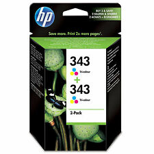GENUINE OEM HP HEWLETT PACKARD COLOUR INK CARTRIDGE HP 343 CB332EE TWIN PACK