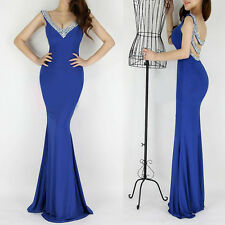 Deep V-Neck Backless Long Maxi Slim Ball Celeb Bridal Evening Prom Party Dress