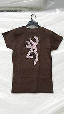 OFFICIALLY LICENSED BROWNING CHOCOLATE WOMEN'S FITTED TEE W/AP PINK BUCKMARK