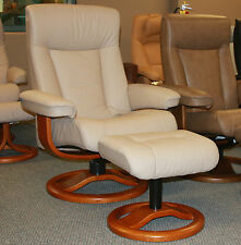 Norwegian ScanSit 110 Sandel Leather Modern Danish Ergonomic Recliner + Ottoman
