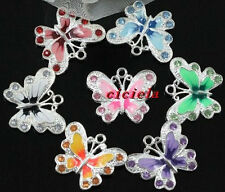 Free Shipping! New 20pcs/50pcs Silver Plated Enamel Rhinestone Butterfly Charms
