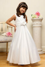 New Flower Girls First Communion Stunning Satin Long Dress Pageant Wedding