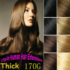 170g 8pcs Clip In 100%Real Human Hair Extensions Remy Hair Black Brown Blonde US