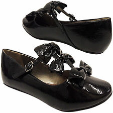 NEW FLAT DOLLY GIRLS LADIES SHOES 3-BOW T-BAR SHINY WORK SCHOOL PUMP BLACK SIZE