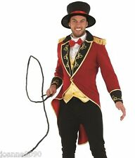 DELUXE MENS RINGMASTER ADULT CIRCUS LION TAMER TAILCOAT FANCY DRESS COSTUME WHIP