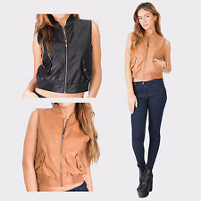 Hidden Fashion Womens Ladies Faux Leather Pattern Embossed Gilets/Jackets